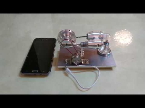 محرك ستيرلنج hot air stirling Engine charging mobile phone
