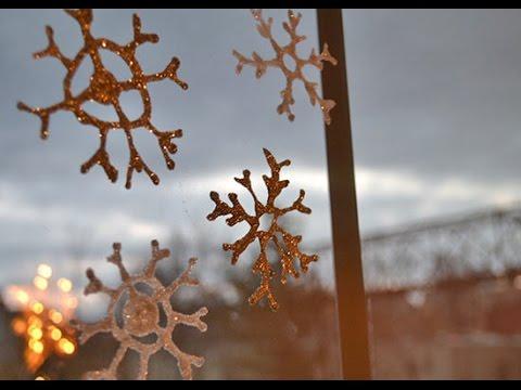 DIY Snowflake Window Clings