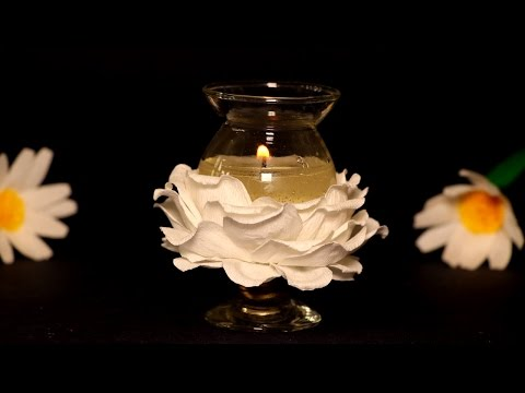 DIY Gel Candles Making Ideas - Beautiful Paper Flower Candle Decoration