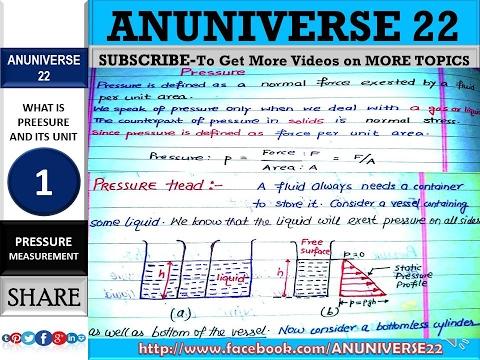 PRESSURE AND ITS UNIT(BAR, PSI, PASCAL, ATM) - PRESSURE 1 - ANUNIVERSE 22