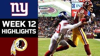 Giants vs. Redskins | NFL Week 12 Game Highlights