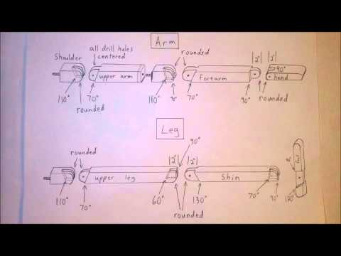 Wooden Grappling Dummy Diagram - Arms and Legs