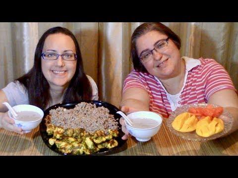 Crispy Chicken, Buckwheat, Cream Of Mushroom Soup Fruits 🍉 | Gay Family Mukbang (먹방) - Eating Show
