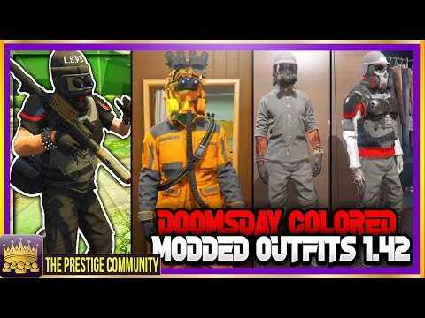 GTA 5 (NEW) TOP 5 MODDED OUTFIT GLITCHES 1.42 *DOOMSDAY COLORED* Using Clothing Glitches Online 1.42