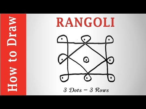 Free Hand Rangoli Design : 3 Dots - 3 Rows
