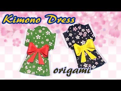 Origami Kimono Dress Instructions   How to Make a Paper Yukata   Origami Ideas for Girls