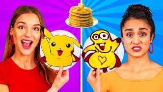 PANCAKE ART CHALLENGE! Come fare pancake di Spongebob, Emoji e Batman fai-da-te in 24 ore!