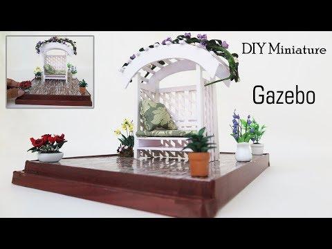 DIY Miniature Beautiful Gazebo -  Miniature crafts ideas