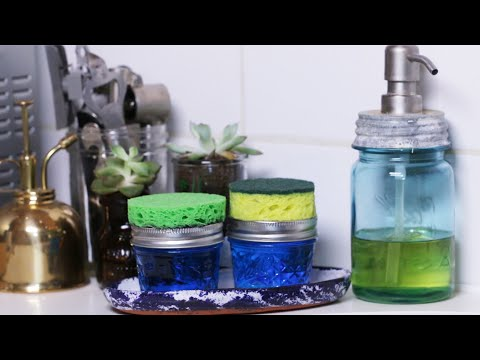 Four Useful DIYs Using A Sponge And Mason Jar