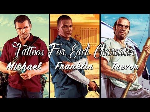 GTA V: Tattoo Selection For Each Character - Trevor, Franklin & Michael