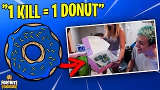 NINJA TAKES ON THE DONUT CHALLENGE w/ WIFE! (1 kill = 1 donut)