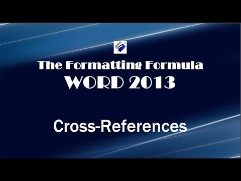 Word 2013 Cross References
