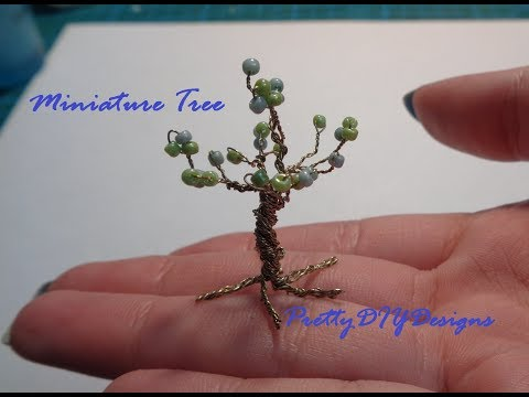 Miniature Tree made from Wire and Beads