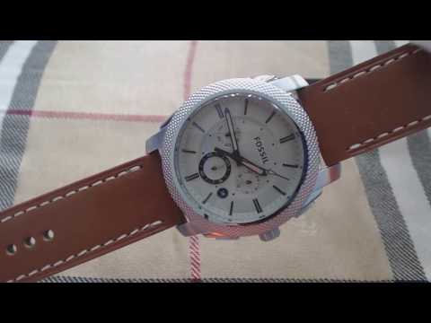 Men's Fossil Machine Chronograph Leather Band Watch FS5131