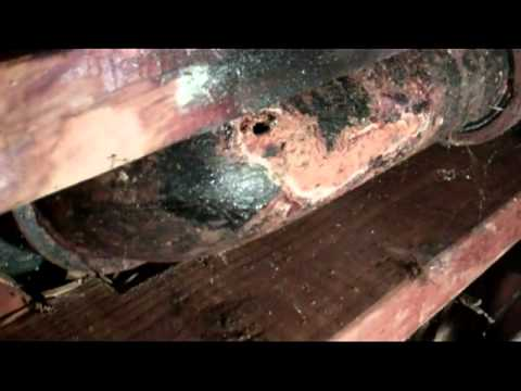 Repair the Cast Iron Sewer Line Pipe Under The Toilet Patch A Hole In The Drain Line