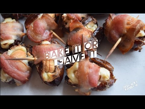 Bacon Wrapped Dates Stuffed with Cream Cheese & Cashews
