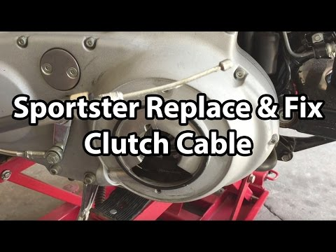 How To Harley Davidson Sportster clutch cable replace and fix oil leak .