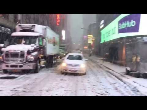 Snowing in Times Square New York City February 9th 2017
