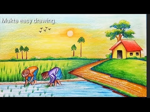 How to draw Rice plantation scenery.Step by step(easy draw)