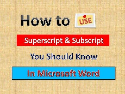 Word Tips Superscript & Subscript (English)