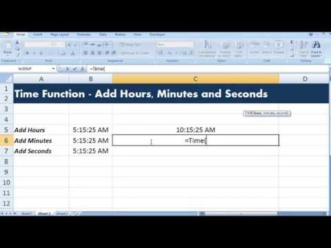 Excel Time Function to add hours to time, to add minutes to time and to add seconds to time