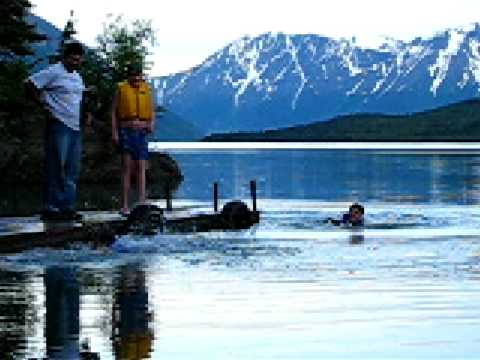It's tougher in Alaska!  Try swimming in an Alaskan glacial lake! Part 2