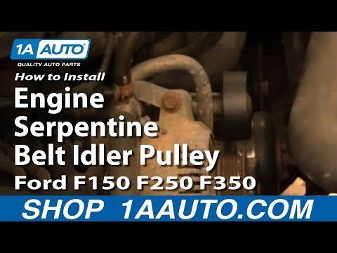 How to Install Replace Engine Serpentine Belt Idler Pulley Ford F150 F250 F350 92-96 1AAuto.com