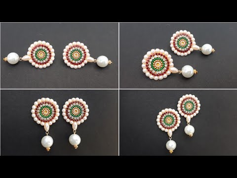 How To Make Simple And Beautiful Pearls Earrings At Home | DIY Jewelry Making  | Paper Crafts