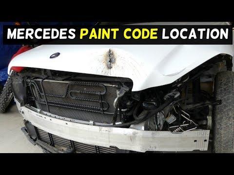WHERE IS THE PAINT CODE ON MERCEDES W204 C250 C300 C350 C200 C220 C260 C280