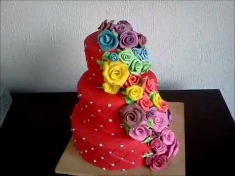 Red 3 Tear Dummy Wedding cake, Quilted and + rainbow Roses, of gumpaste and Fondant