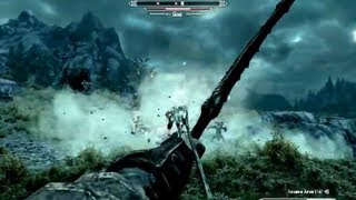 Skyrim Gameplay - Archer versus Giant and his Mammoths