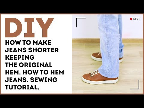 DIY: How to make jeans shorter keeping the original hem. How to hem jeans. Sewing tutorial.