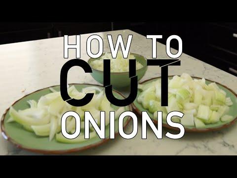 4 Easy Ways to Cut an Onion! (Onion slicing tutorial) - BenjiManTV