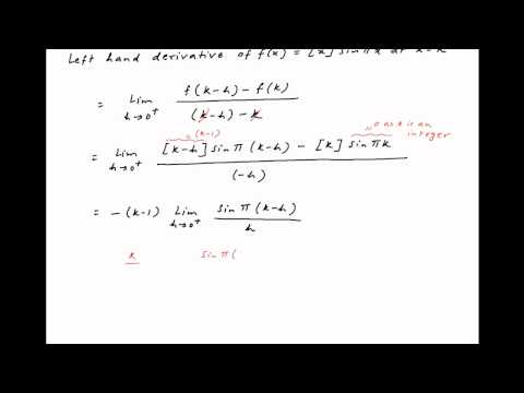 [IIT 2001] Find the left hand derivative of f(x) = [x]*sin(PI*x) at x = k where k is an integer.