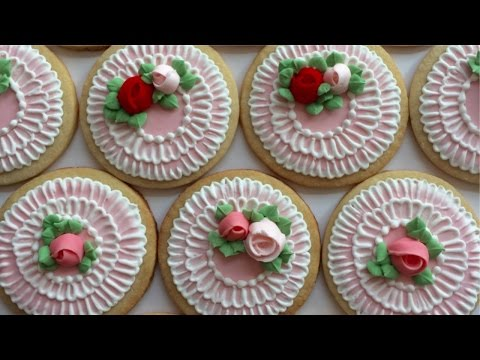 How To Decorate Cookies With Royal Icing Roses And Brush Embroidery
