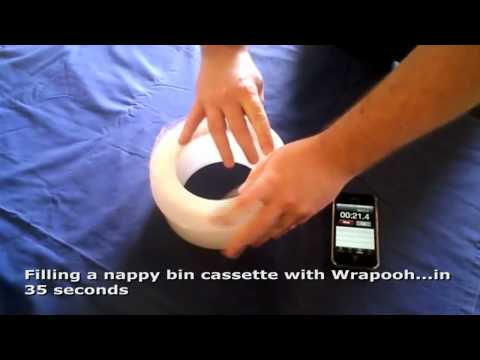 Refilling a tommee nappy bin cassette in 35 secs with Wrapooh.mp4