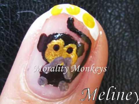 Animal Nail Art Tutorial - Morality Wise Monkeys Cute Zodiac Design for Short Nails DIY Home made