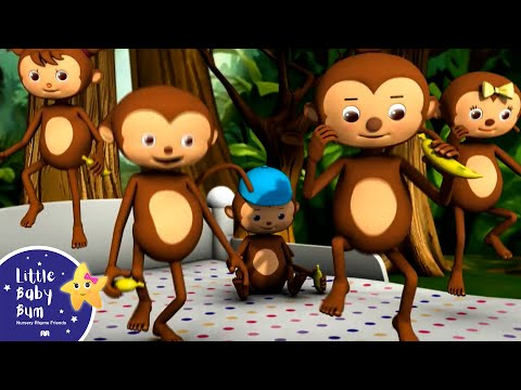 Five Little Monkeys Jumping On The Bed | Part 1 | In HD from LittleBabyBum