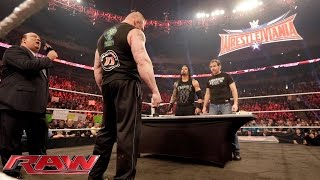 Dean Ambrose confronts Brock Lesnar during their WWE Fastlane contract signing: Raw, Feb. 8, 2016
