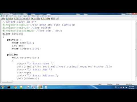 Object Array In C++