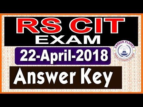 RSCIT Answer Key 22 April 2018 RSCIT Exam Paper with Solution