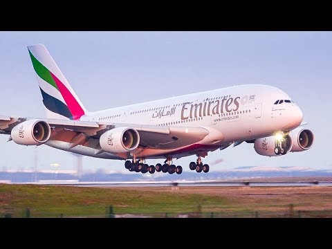 Winter landings in Paris CDG airport with A380, 777, 787, A330, A340, A320