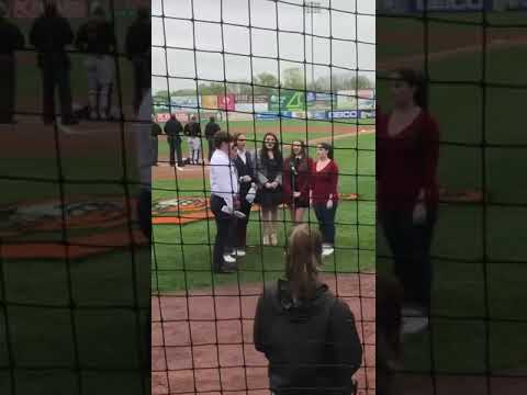 The Stars of On The Town Sing The National Anthem For The Long Island Ducks