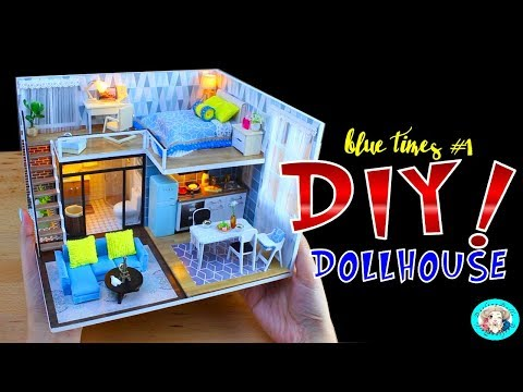 💗 DIY Dollhouse with Furniture Music Light & Cover PART 1 CuteRoom L-023 Blue Time