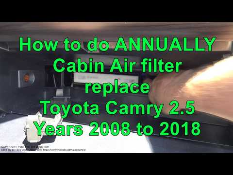 How to ANNUALLY replace Cabin Air filter replace Toyota Camry 2.5 Years 2008 to 2018