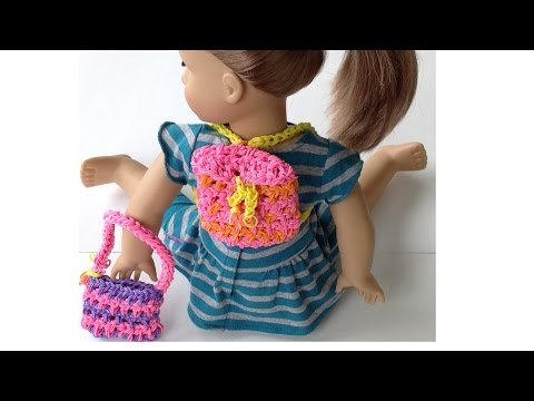 Rainbow Loom Doll Backpack / Tote Bag made with Loom Bands