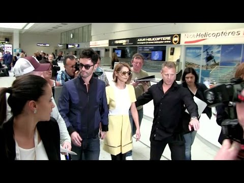 EXCLUSIVE: Cheryl Cole and husband arriving at Nice airport to attend the 2015 Cannes Film Festival