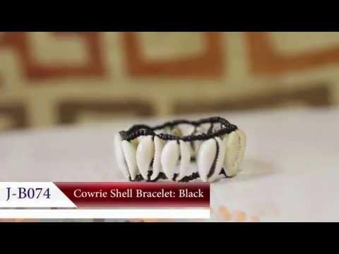 Cowrie Shell Bracelet: Black - Africa Imports