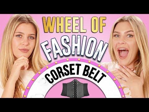 CORSET BELT CHALLENGE?! Wheel of Fashion w/ Caci Twins