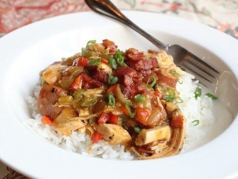 Cajun Chicken Ragu - Spicy Chicken and Sausage Stew over Rice - Mardi Gras Special